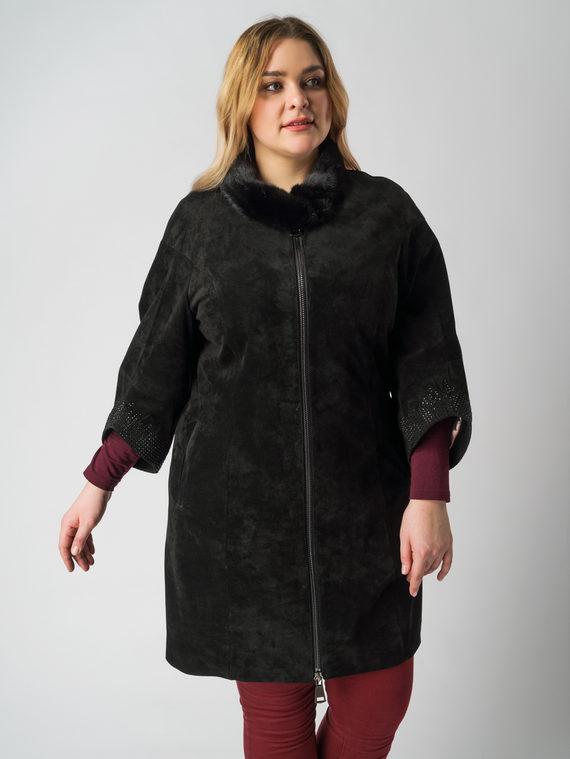 Кожаное пальто кожа замша, цвет черный, арт. 18005871  - цена 19990 руб.  - магазин TOTOGROUP