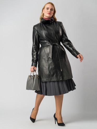 Кожаное пальто кожа , цвет черный, арт. 18005872  - цена 15990 руб.  - магазин TOTOGROUP