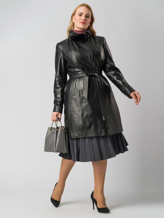 Кожаное пальто кожа , цвет черный, арт. 18005872  - цена 14990 руб.  - магазин TOTOGROUP