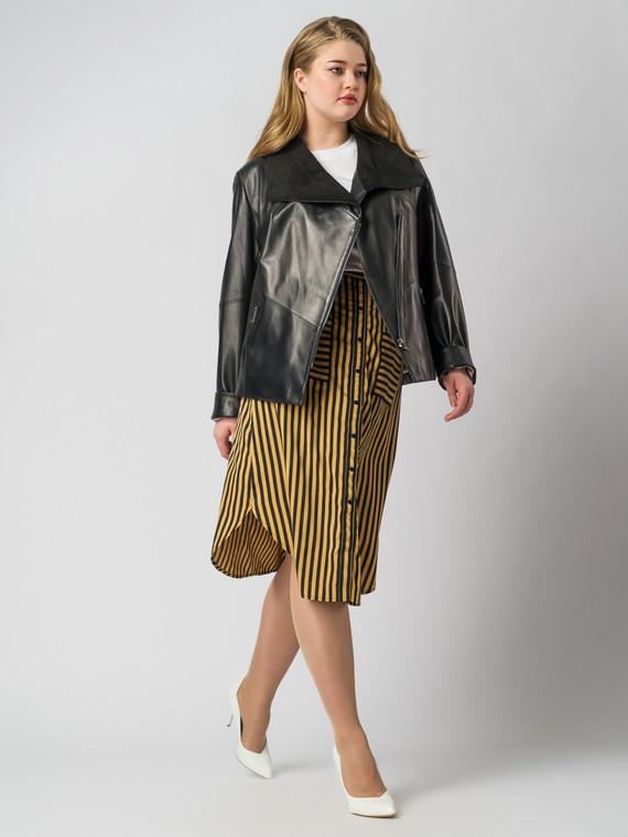 Кожаная куртка кожа , цвет черный, арт. 18005874  - цена 9490 руб.  - магазин TOTOGROUP