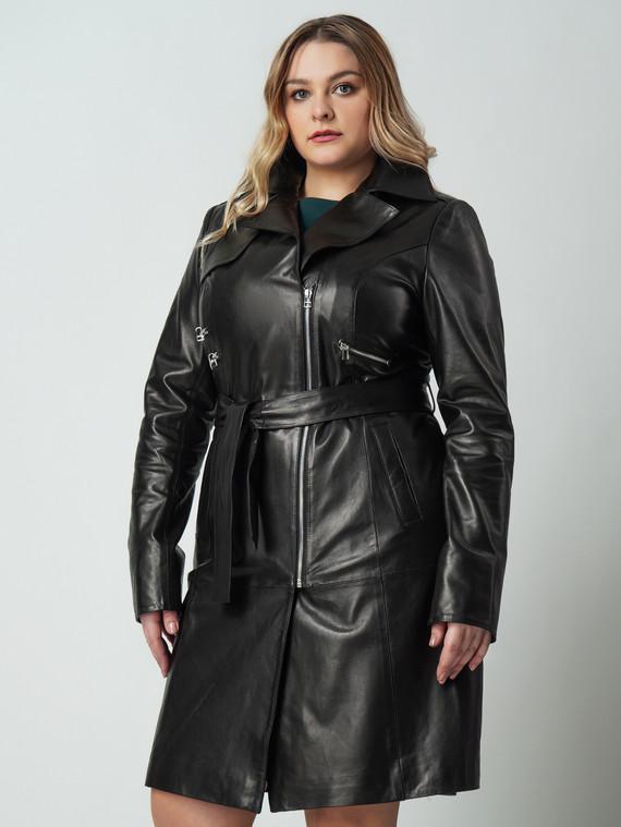 Кожаное пальто кожа , цвет черный, арт. 18005878  - цена 14990 руб.  - магазин TOTOGROUP