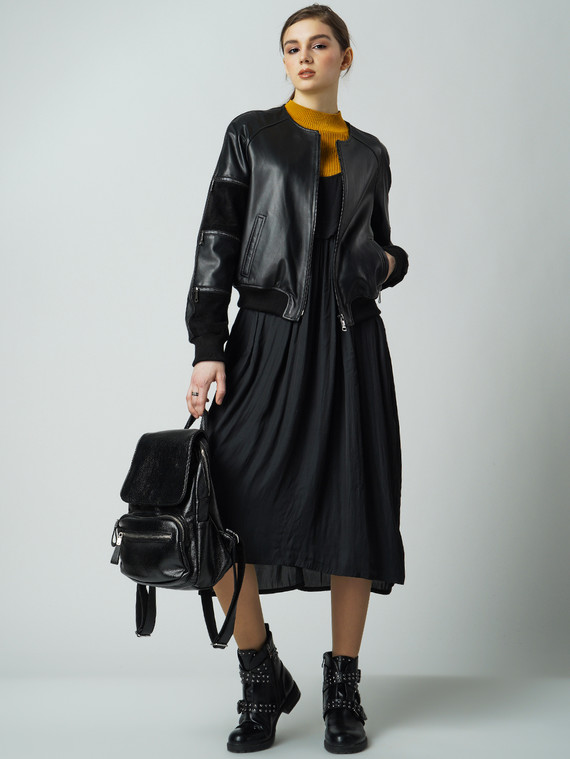 Кожаная куртка кожа , цвет черный, арт. 18005879  - цена 7990 руб.  - магазин TOTOGROUP