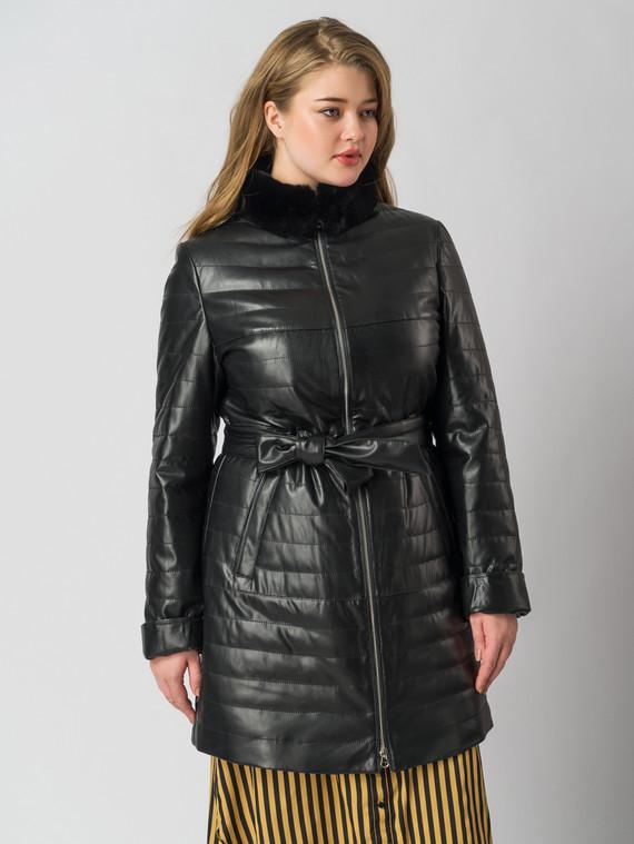 Кожаное пальто эко кожа 100% П/А, цвет черный, арт. 18005882  - цена 6630 руб.  - магазин TOTOGROUP