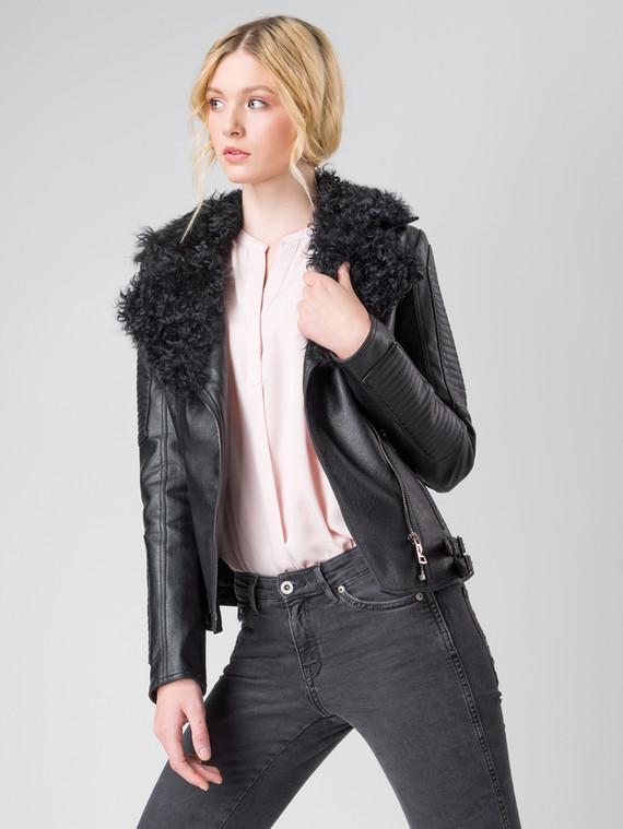 Кожаная куртка эко кожа 100% П/А, цвет черный, арт. 18005894  - цена 11290 руб.  - магазин TOTOGROUP