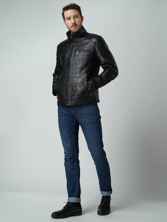 Кожаная куртка кожа баран, цвет черный, арт. 18005907  - цена 9490 руб.  - магазин TOTOGROUP