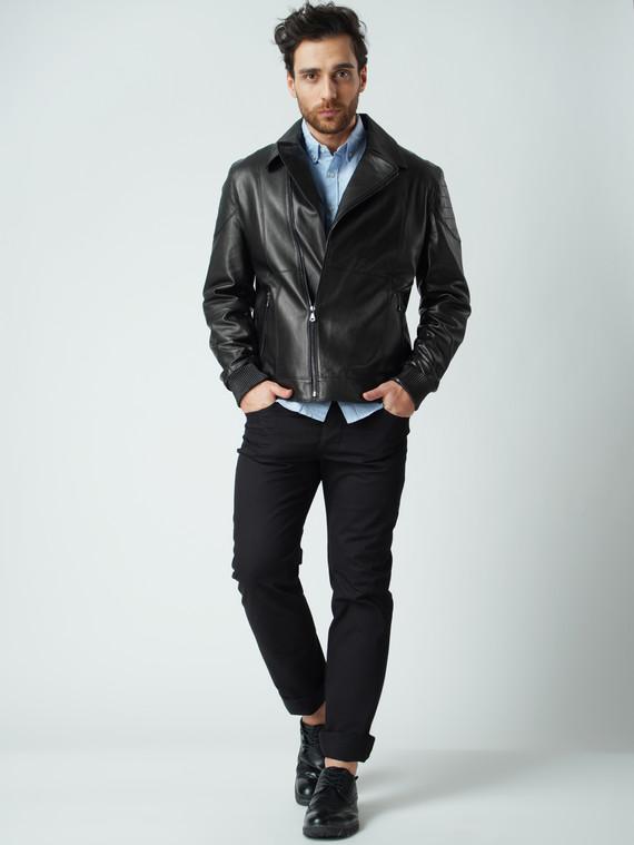 Кожаная куртка кожа коза, цвет черный, арт. 18005957  - цена 11290 руб.  - магазин TOTOGROUP