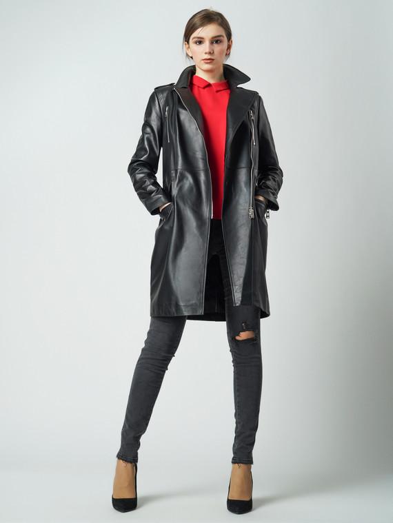 Кожаное пальто кожа баран, цвет черный, арт. 18005976  - цена 17990 руб.  - магазин TOTOGROUP