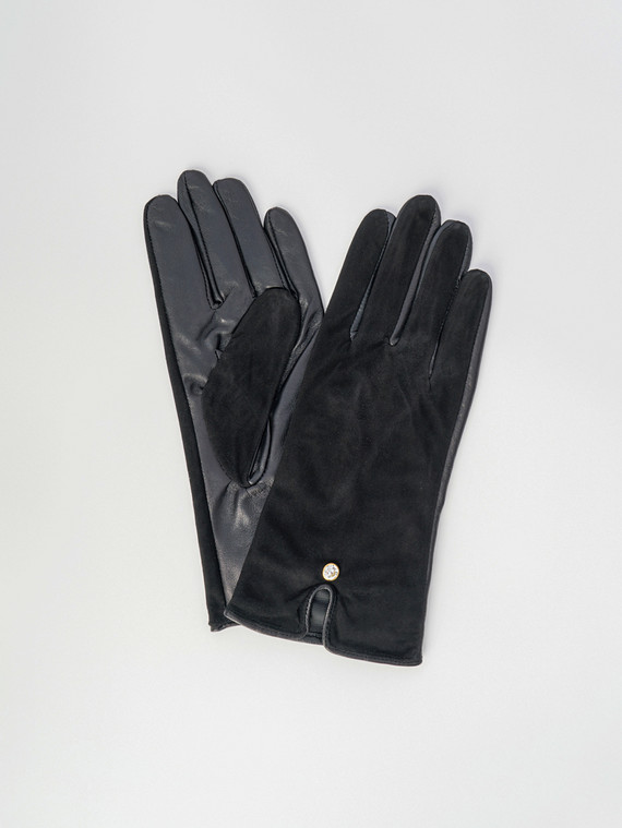 Перчатки кожа замша, цвет черный, арт. 18006077  - цена 1410 руб.  - магазин TOTOGROUP