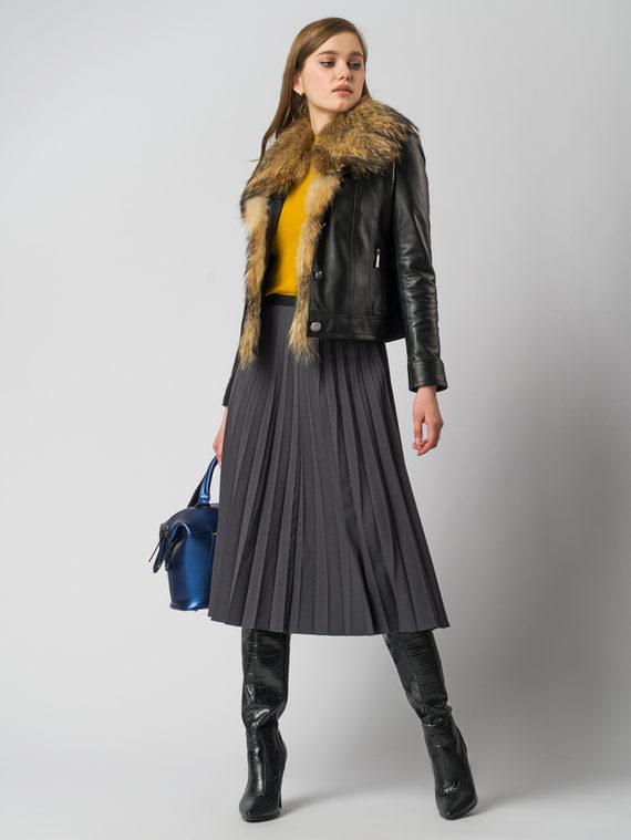 Кожаная куртка кожа , цвет черный, арт. 18006106  - цена 13390 руб.  - магазин TOTOGROUP