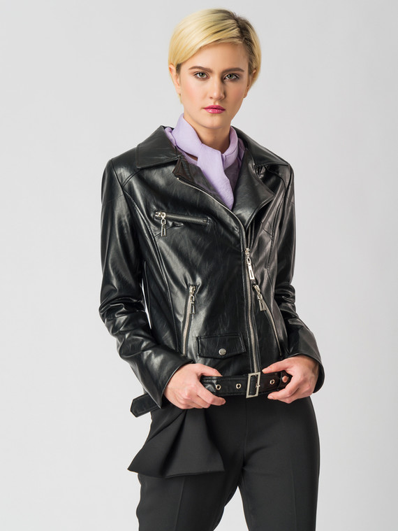 Кожаная куртка эко кожа флоттер, цвет черный, арт. 18006134  - цена 3990 руб.  - магазин TOTOGROUP
