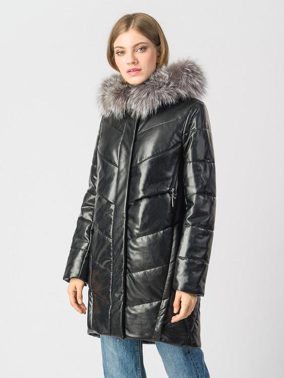 Кожаное пальто эко-кожа 100% П/А, цвет черный, арт. 18006146  - цена 9490 руб.  - магазин TOTOGROUP