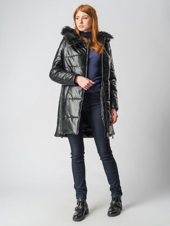 Кожаное пальто эко-кожа 100% П/А, цвет черный металлик, арт. 18006167  - цена 9490 руб.  - магазин TOTOGROUP