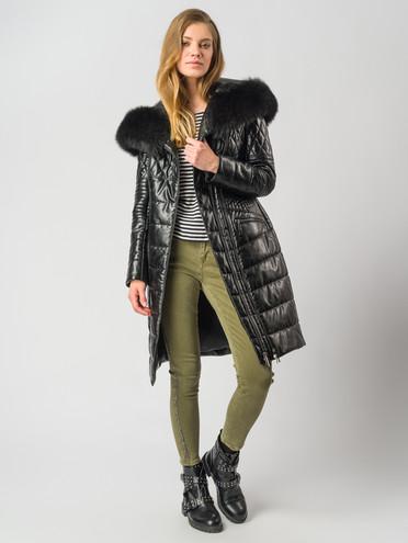 Кожаное пальто эко кожа 100% П/А, цвет черный, арт. 18006186  - цена 14990 руб.  - магазин TOTOGROUP