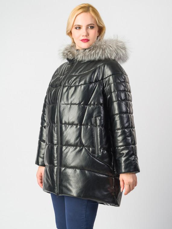 Кожаное пальто эко-кожа 100% П/А, цвет черный металлик, арт. 18006187  - цена 11990 руб.  - магазин TOTOGROUP