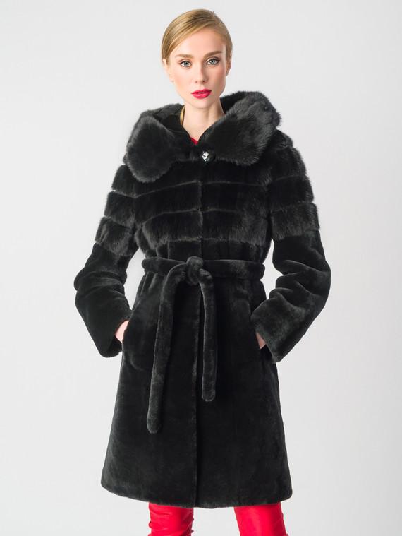 Шуба из мутона мех мутон, цвет черный, арт. 18006367  - цена 47490 руб.  - магазин TOTOGROUP