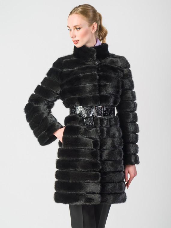 Шуба из норки мех норка, цвет черный, арт. 18006372  - цена 42490 руб.  - магазин TOTOGROUP