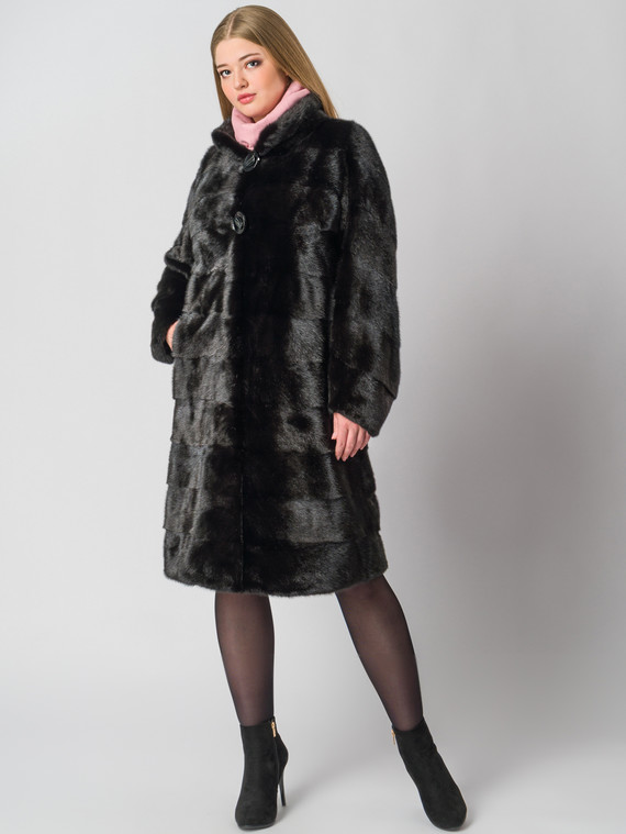 Шуба из норки мех норка, цвет черный, арт. 18006389  - цена 67990 руб.  - магазин TOTOGROUP