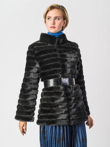 Шуба из норки мех норка, цвет черный, арт. 18006405  - цена 33990 руб.  - магазин TOTOGROUP