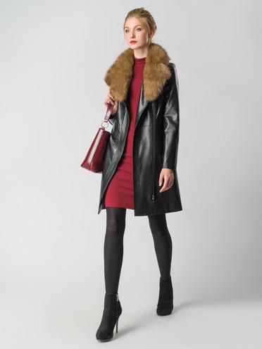 Кожаное пальто эко-кожа 100% П/А, цвет черный, арт. 18006455  - цена 8990 руб.  - магазин TOTOGROUP