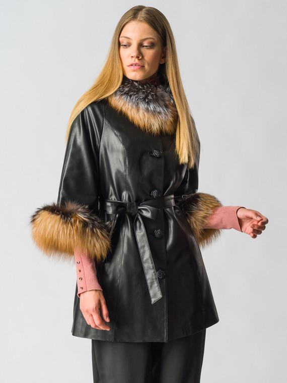 Кожаная куртка эко-кожа 100% П/А, цвет черный, арт. 18006456  - цена 9990 руб.  - магазин TOTOGROUP