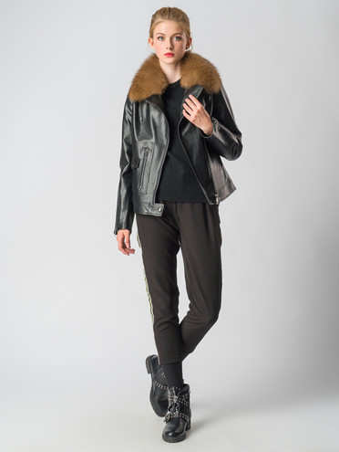 Кожаная куртка эко-кожа 100% П/А, цвет черный, арт. 18006468  - цена 4490 руб.  - магазин TOTOGROUP