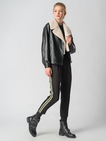 Кожаное пальто эко-кожа 100% П/А, цвет черный, арт. 18006470  - цена 5590 руб.  - магазин TOTOGROUP