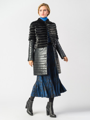 Кожаное пальто эко-кожа 100% П/А, цвет черный, арт. 18006552  - цена 18990 руб.  - магазин TOTOGROUP