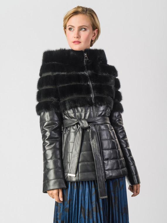 Кожаная куртка кожа коза, цвет черный, арт. 18006576  - цена 16990 руб.  - магазин TOTOGROUP