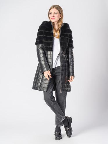Кожаное пальто кожа , цвет черный, арт. 18006577  - цена 31990 руб.  - магазин TOTOGROUP