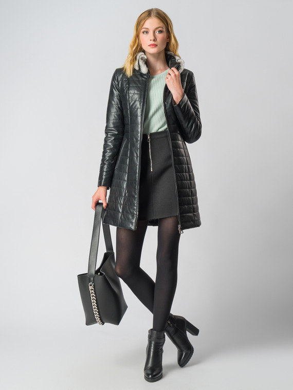Кожаное пальто эко-кожа 100% П/А, цвет черный, арт. 18006578  - цена 7490 руб.  - магазин TOTOGROUP