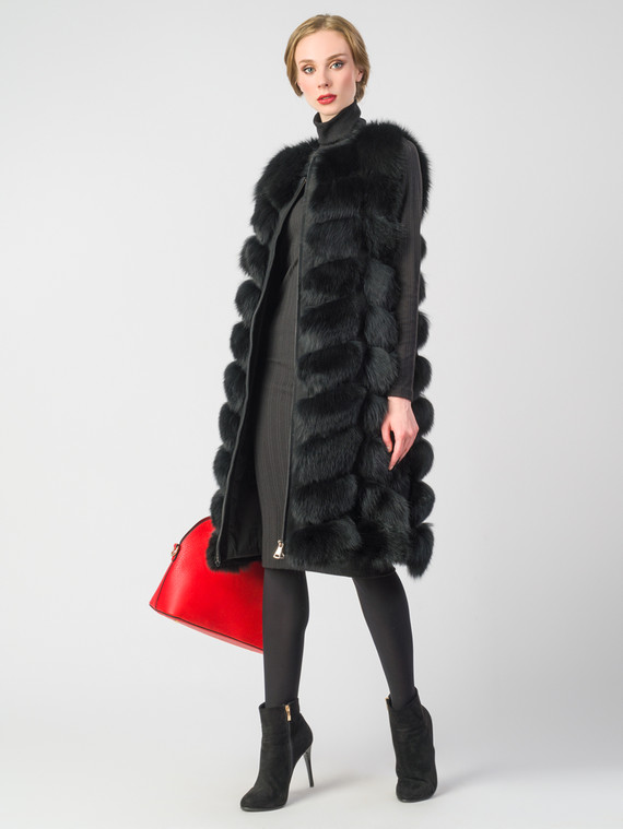 Меховой жилет мех песец, цвет черный, арт. 18006598  - цена 25590 руб.  - магазин TOTOGROUP