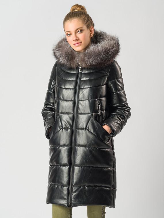 Кожаное пальто эко-кожа 100% П/А, цвет черный металлик, арт. 18006600  - цена 7490 руб.  - магазин TOTOGROUP
