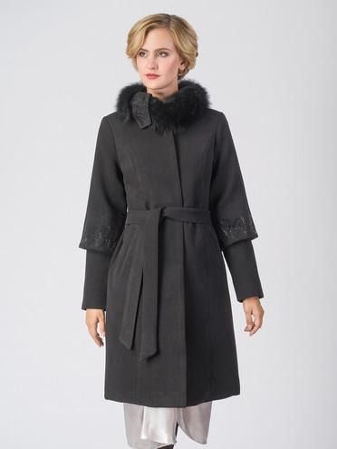 Текстильное пальто 30%шерсть, 70% п\а, цвет черный, арт. 18006606  - цена 5890 руб.  - магазин TOTOGROUP