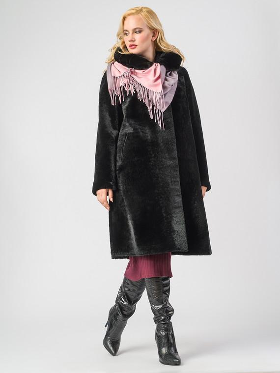Шуба из мутона мех мутон, цвет черный, арт. 18006630  - цена 42490 руб.  - магазин TOTOGROUP