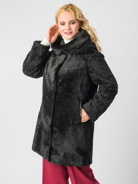 Шуба из мутона мех мутон, цвет черный, арт. 18006637  - цена 12690 руб.  - магазин TOTOGROUP