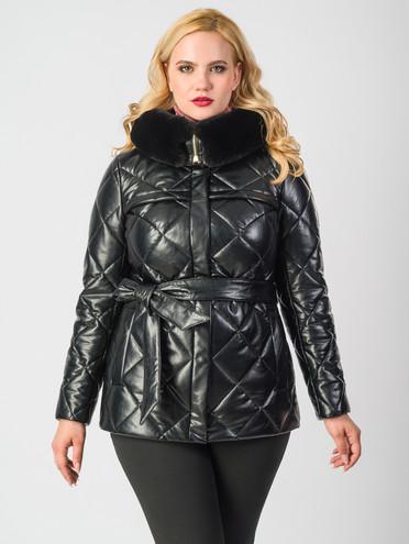 Кожаная куртка эко-кожа 100% П/А, цвет черный металлик, арт. 18006684  - цена 5590 руб.  - магазин TOTOGROUP