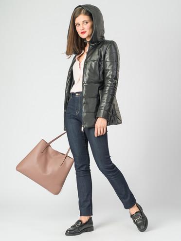 Кожаная куртка кожа , цвет черный металлик, арт. 18006753  - цена 16990 руб.  - магазин TOTOGROUP