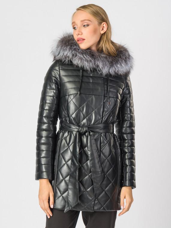 Кожаное пальто эко-кожа 100% П/А, цвет черный металлик, арт. 18006838  - цена 10590 руб.  - магазин TOTOGROUP
