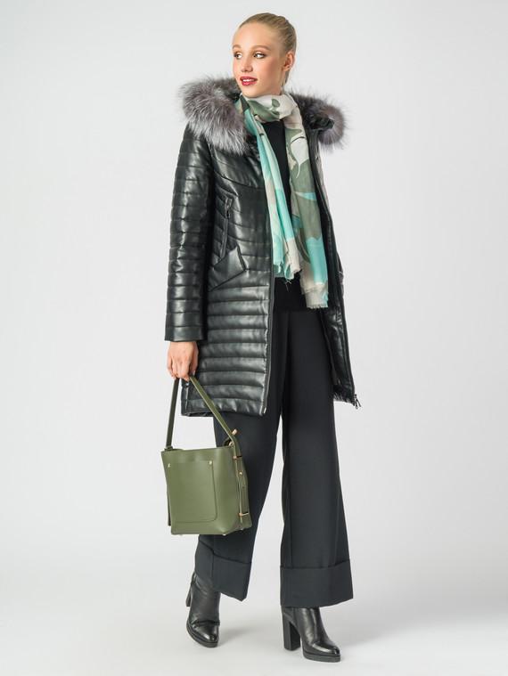 Кожаное пальто эко-кожа 100% П/А, цвет черный металлик, арт. 18006840  - цена 10590 руб.  - магазин TOTOGROUP