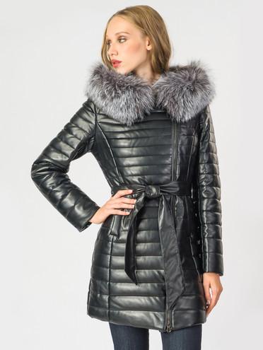 Кожаное пальто эко-кожа 100% П/А, цвет черный металлик, арт. 18006842  - цена 8990 руб.  - магазин TOTOGROUP