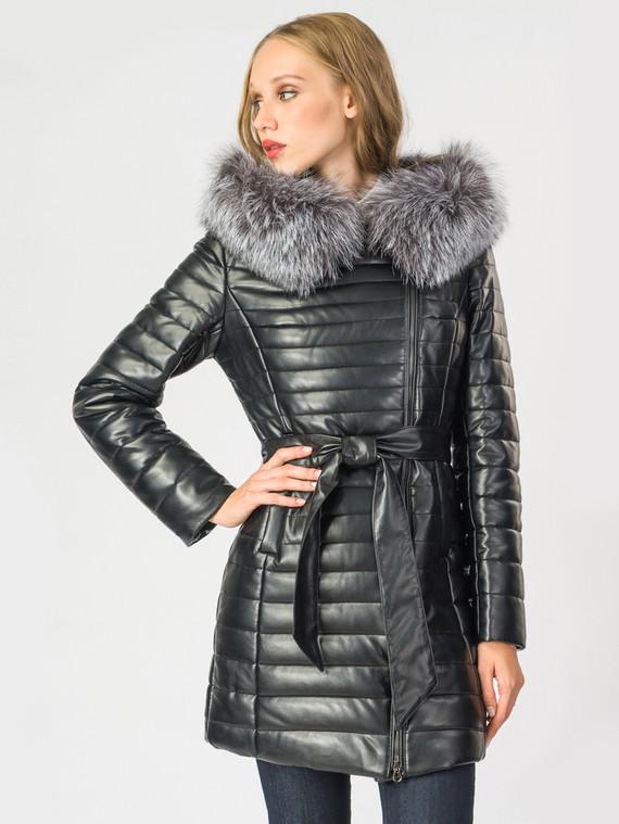 Кожаное пальто эко-кожа 100% П/А, цвет черный металлик, арт. 18006842  - цена 10590 руб.  - магазин TOTOGROUP