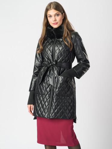 Кожаное пальто эко-кожа 100% П/А, цвет черный металлик, арт. 18006844  - цена 9490 руб.  - магазин TOTOGROUP