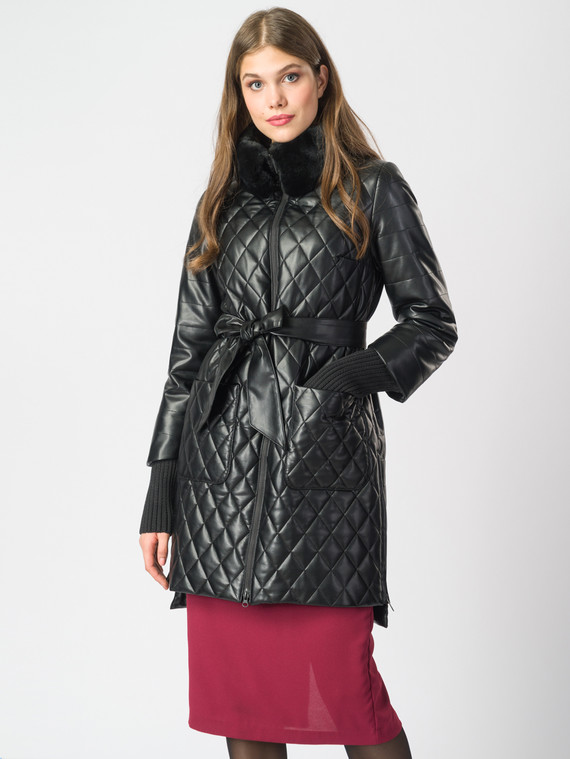 Кожаное пальто эко-кожа 100% П/А, цвет черный металлик, арт. 18006844  - цена 10590 руб.  - магазин TOTOGROUP