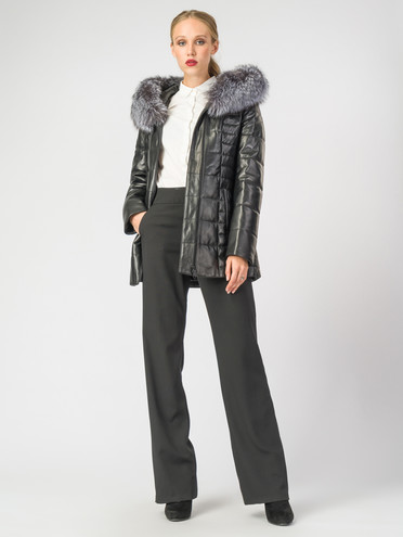 Кожаная куртка кожа , цвет черный металлик, арт. 18006849  - цена 18990 руб.  - магазин TOTOGROUP
