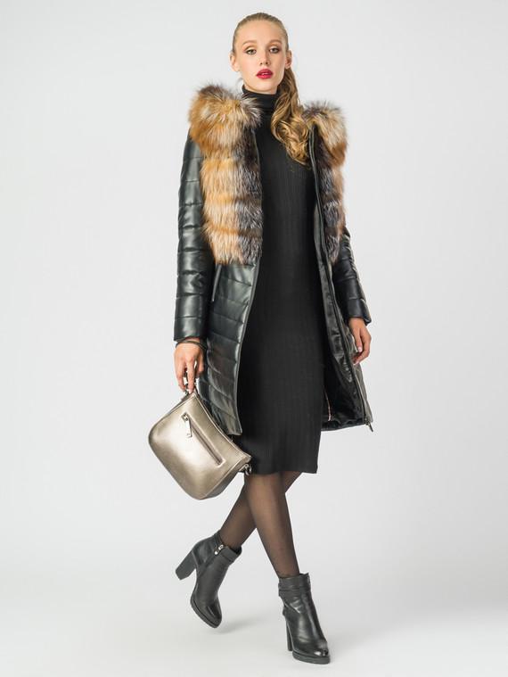 Кожаное пальто эко-кожа 100% П/А, цвет черный, арт. 18006850  - цена 14190 руб.  - магазин TOTOGROUP