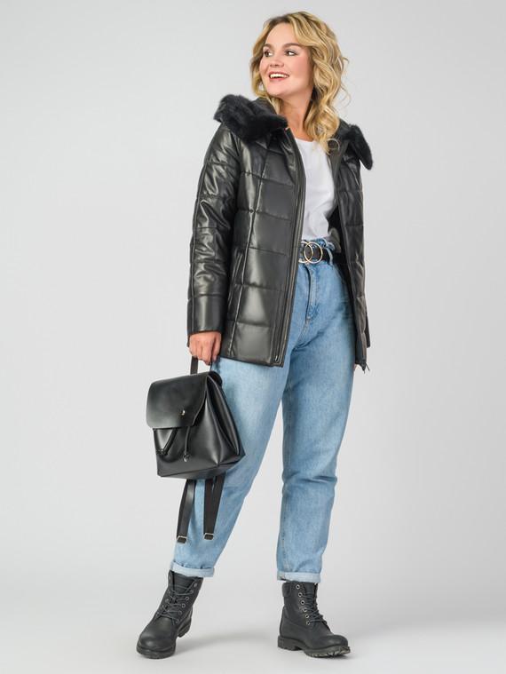 Кожаная куртка кожа , цвет черный металлик, арт. 18006854  - цена 13390 руб.  - магазин TOTOGROUP