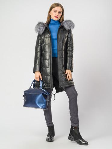 Кожаное пальто кожа , цвет черный металлик, арт. 18006858  - цена 26990 руб.  - магазин TOTOGROUP