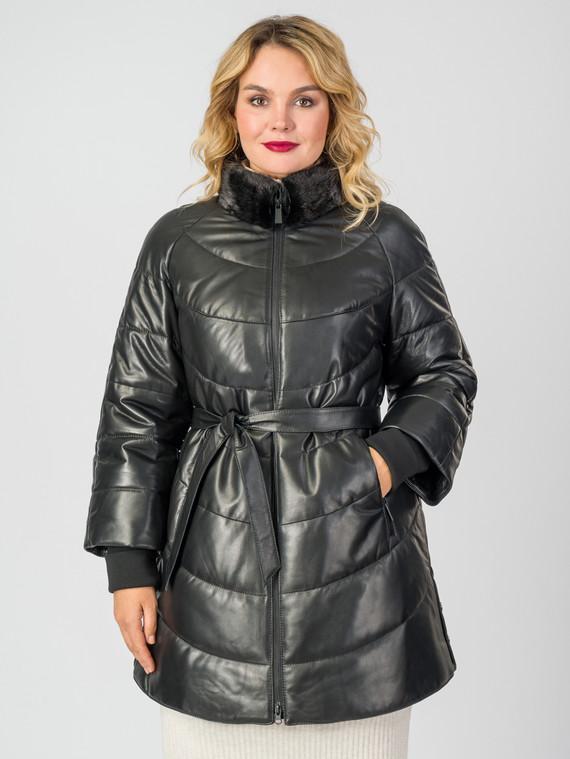 Кожаная куртка кожа , цвет черный металлик, арт. 18006861  - цена 12690 руб.  - магазин TOTOGROUP