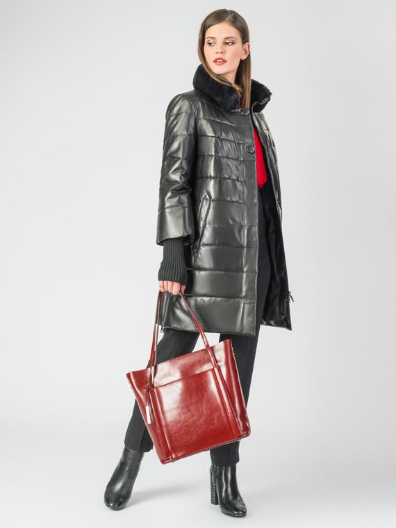 Кожаное пальто кожа , цвет черный металлик, арт. 18006862  - цена 17990 руб.  - магазин TOTOGROUP