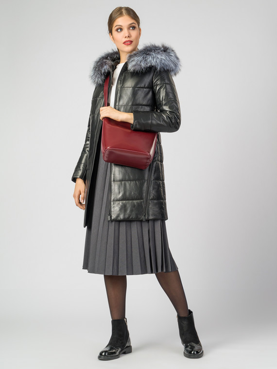 Кожаное пальто кожа , цвет черный, арт. 18006863  - цена 18990 руб.  - магазин TOTOGROUP